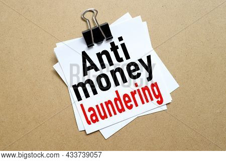 Business Acronym Aml Anti Money Laundering. White Sticker On Craft Background With Place For Text