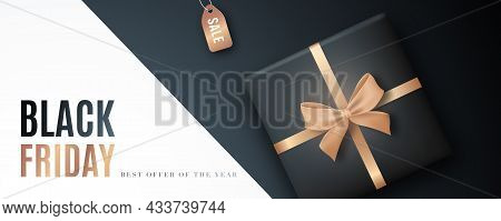 Black Friday Horizontal Banner. Pattern With Gift Box And Tag Sale. Luxury Vector Design. Concept Fo