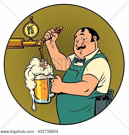 The Bartender In The Pub Is Pouring Draft Beer. Isolate On A White Background