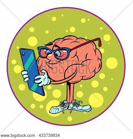 The Smart Guy Looks At His Smartphone. Human Brain Character, Smart Wise