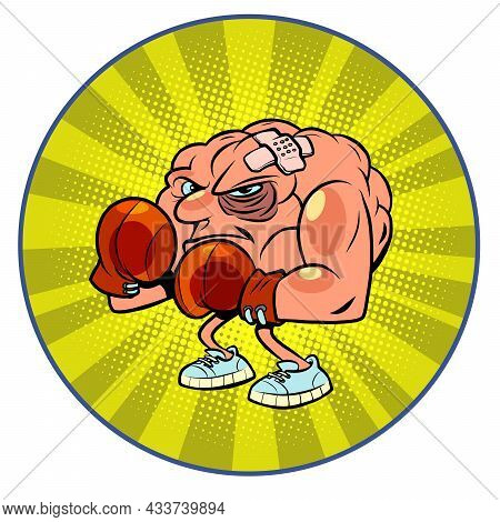 Boxer With Injuries Human Brain Character, Smart Wise