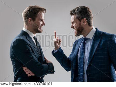 Aggressive Businessmeeting. Struggle For Leadership. Displeased Colleague Dispute.