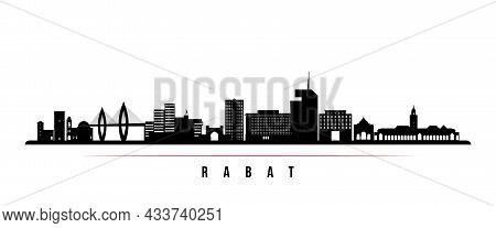 Rabat Skyline Horizontal Banner. Black And White Silhouette Of Rabat, Morocco. Vector Template For Y
