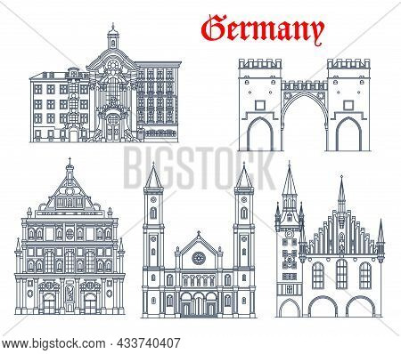 Germany, Munich Architecture Buildings And Travel Landmarks, Vector. German St Ludwig Kirche, Saint.