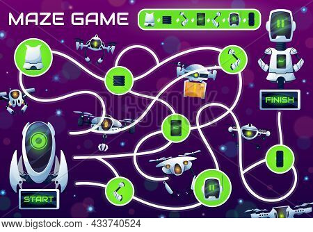 Kids Maze Game With Repair A Robot Labyrinth. Vector Logic Puzzle Or Riddle With Find Right Way Task