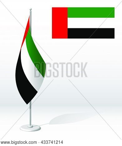 United Arab Emirates Flag On Flagpole For Registration Of Solemn Event, Meeting Foreign Guests. Nati