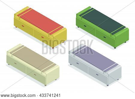 Isometric Set Of Wooden Tv Tables. Home Theater Stand. Home Furniture. Realistic 3d Vector Isolated
