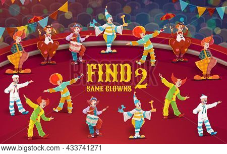 Circus Clowns, Find Two Same Characters. Game For Kids, Vector Tabletop Riddle. Find A Correct Simil