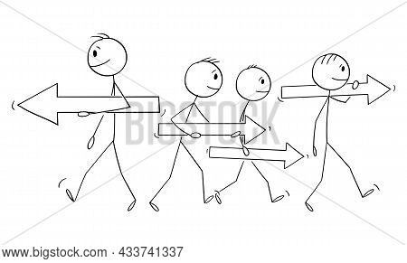 Individuality Choosing Different Way From The Group, Vector Cartoon Stick Figure Illustration