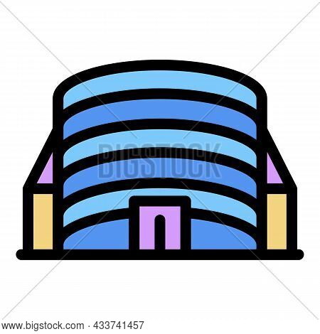 Mall Building Icon. Outline Mall Building Vector Icon Color Flat Isolated