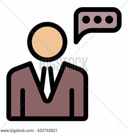 Lawyer Speech Icon. Outline Lawyer Speech Vector Icon Color Flat Isolated
