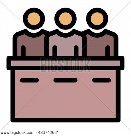 Justice Court People Icon. Outline Justice Court People Vector Icon Color Flat Isolated