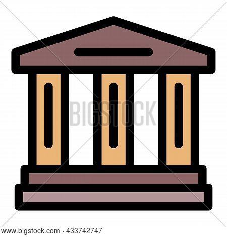 Court Building Icon. Outline Court Building Vector Icon Color Flat Isolated