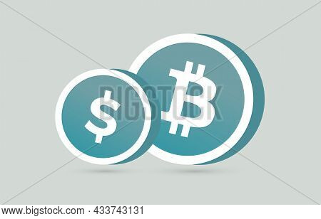 Usd And Bitcoin Btc Currency Coin Business Icon Concept.