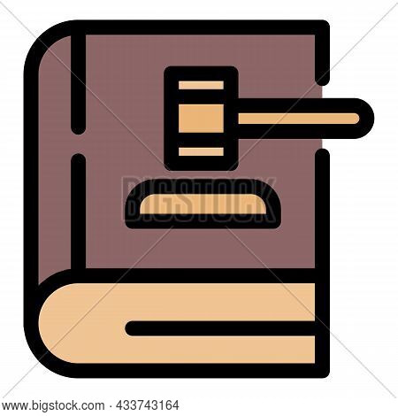 Gavel On Law Book Icon. Outline Gavel On Law Book Vector Icon Color Flat Isolated