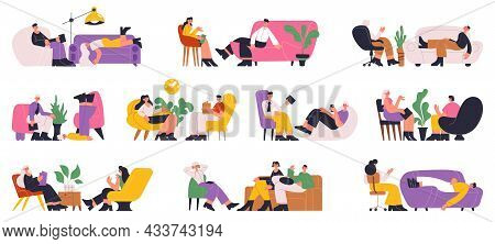 Psychotherapy Help Individual And Group Therapy Consultation Session. Psychotherapist Session, Patie