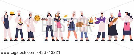 Professional Restaurant Chefs, Cook And Sous Chef Characters. Culinary Chef, Sous Chef, Baker Team,