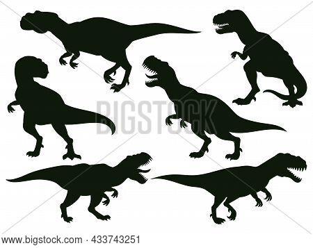 Cartoon Jurassic Predator Tyrannosaurus Rex, Extinct T-rex Silhouette. Jurassic Ancient Predator, T-