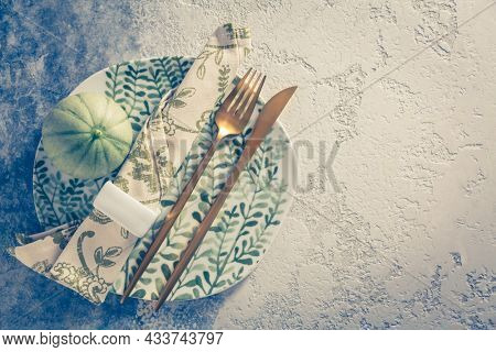 Place setting for Thanksgiving in vintage style copy space for your text