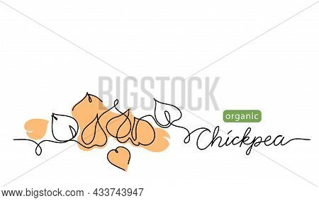 Chickpea, Garbanzo Beans Simple Vector Drawing. One Continuous Line Art Border With Lettering Chickp