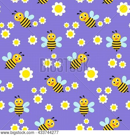 Seamless Pattern With Daisy Flower And Flying Bees On Blue Background Vector Illustration.