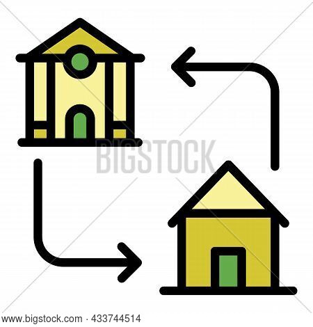 Mortgage Accommodation Icon. Outline Mortgage Accommodation Vector Icon Color Flat Isolated