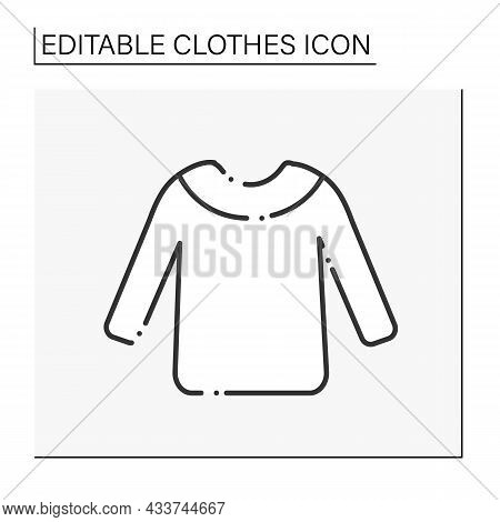 Fashion Line Icon. Cozy Winter Sweater. Warm Clothing. Shopping..clothes Concept. Isolated Vector Il