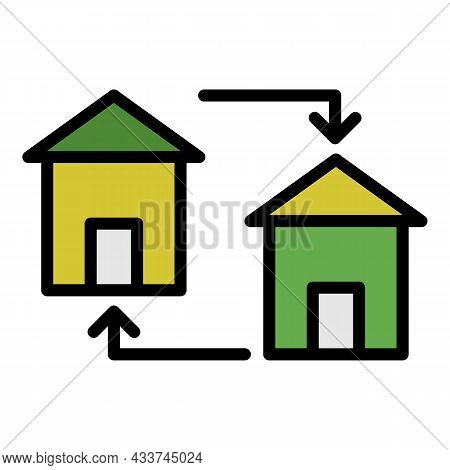 Housing Exchange Icon. Outline Housing Exchange Vector Icon Color Flat Isolated