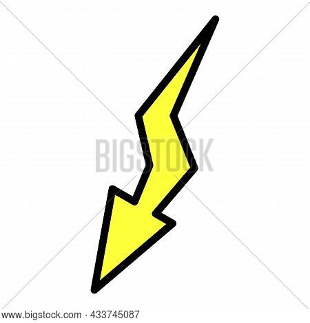 Lightning Icon. Outline Lightning Vector Icon Color Flat Isolated