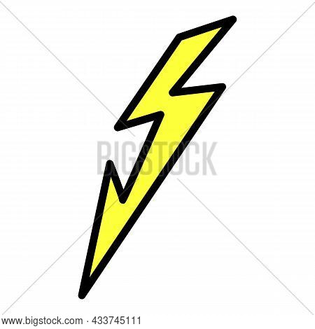 Lightning At An Angle Icon. Outline Lightning At An Angle Vector Icon Color Flat Isolated
