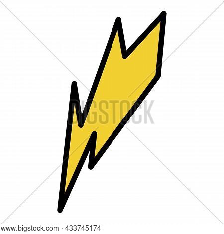 Lightning Bolt Icon. Outline Lightning Bolt Vector Icon Color Flat Isolated