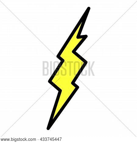 Lightning In A Thunderstorm Icon. Outline Lightning In A Thunderstorm Vector Icon Color Flat Isolate