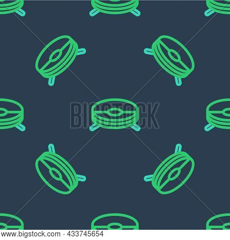 Line Robot Vacuum Cleaner Icon Isolated Seamless Pattern On Blue Background. Home Smart Appliance Fo