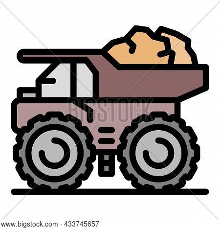 Coal Dump Truck Icon. Outline Coal Dump Truck Vector Icon Color Flat Isolated