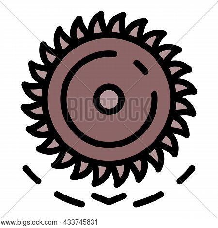 Mining Extract Wheel Icon. Outline Mining Extract Wheel Vector Icon Color Flat Isolated
