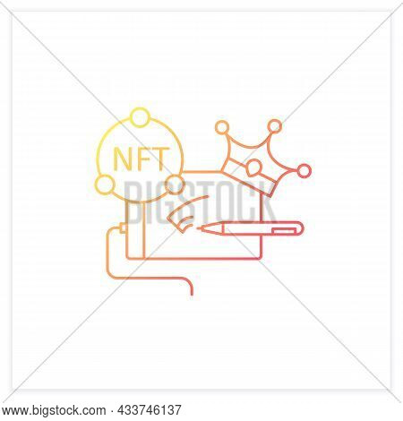 Nft Digital Art Gradient Icon.arts With Non Fungible Token Coins.represent Digital Files.used To Com
