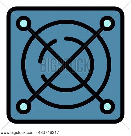 Fan Cpu Cooler Icon. Outline Fan Cpu Cooler Vector Icon Color Flat Isolated