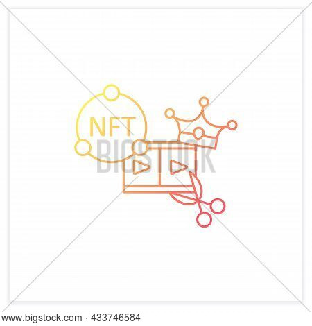 Nft Video Clips Gradient Icon.clips With Non Fungible Token Coin.represent Digital Files.used To Com