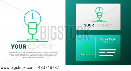 Line Wine Time Icon Isolated On White Background. Wine Glass. Wineglass Sign. Colorful Outline Conce