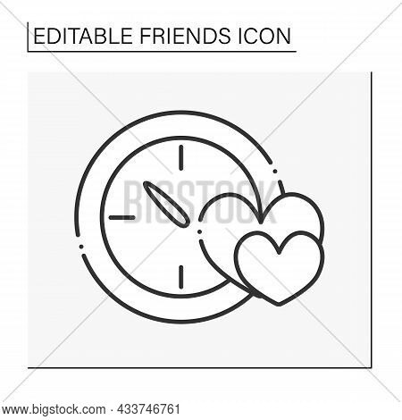 Pastime Line Icon. Spend Time With Soulmates. Hobby And Activities. Friends Line Icon. Isolated Vect