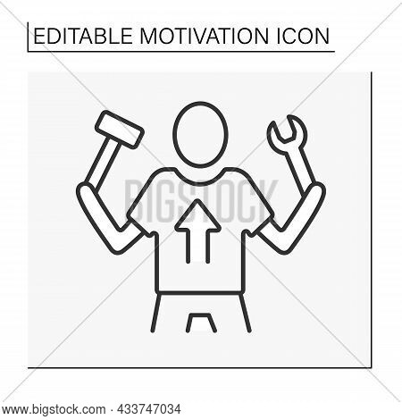 Work Motivation Line Icon. Desire Or Willingness To Make An Effort To Work.motivation Concept. Isola