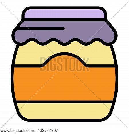 Tasty Jam Jar Icon. Outline Tasty Jam Jar Vector Icon Color Flat Isolated