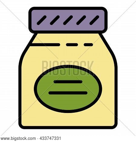Jelly Jam Jar Icon. Outline Jelly Jam Jar Vector Icon Color Flat Isolated