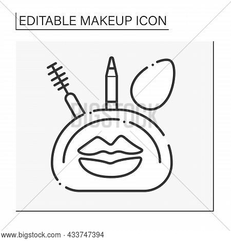 Makeup Kit Line Icon. Useful Suite With Mascara, Eye Pencil And Sponge. Cosmetic Bag With Necessary