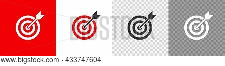 Target And Arrow Button Set Icon. Flat Vector
