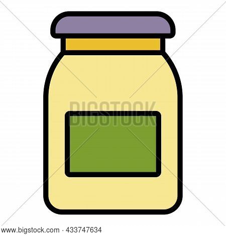 Apricot Jam Jar Icon. Outline Apricot Jam Jar Vector Icon Color Flat Isolated