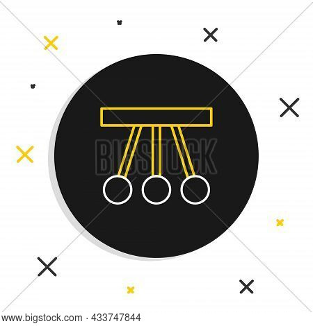 Line Pendulum Icon Isolated On White Background. Newtons Cradle. Colorful Outline Concept. Vector