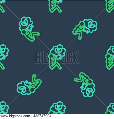 Line Broken Heart Or Divorce Icon Isolated Seamless Pattern On Blue Background. Love Symbol. Valenti