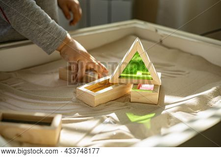 Cute Toddler Playing Self Development Home Kinetic Sandbox Use Maria Montessori Method
