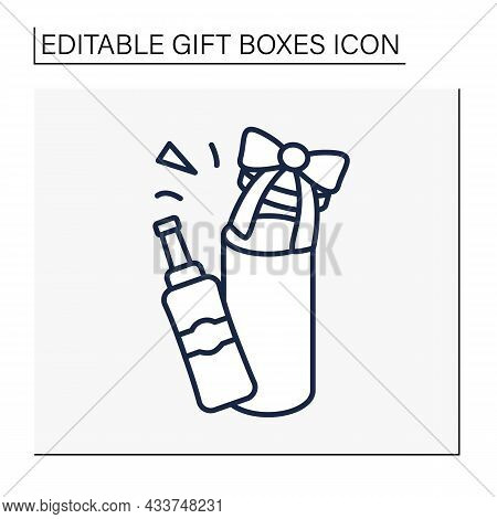 Present Line Icon. Bottle Gift Box. Packing For Alcohol For A Birthday Surprise. Celebration. Gift B